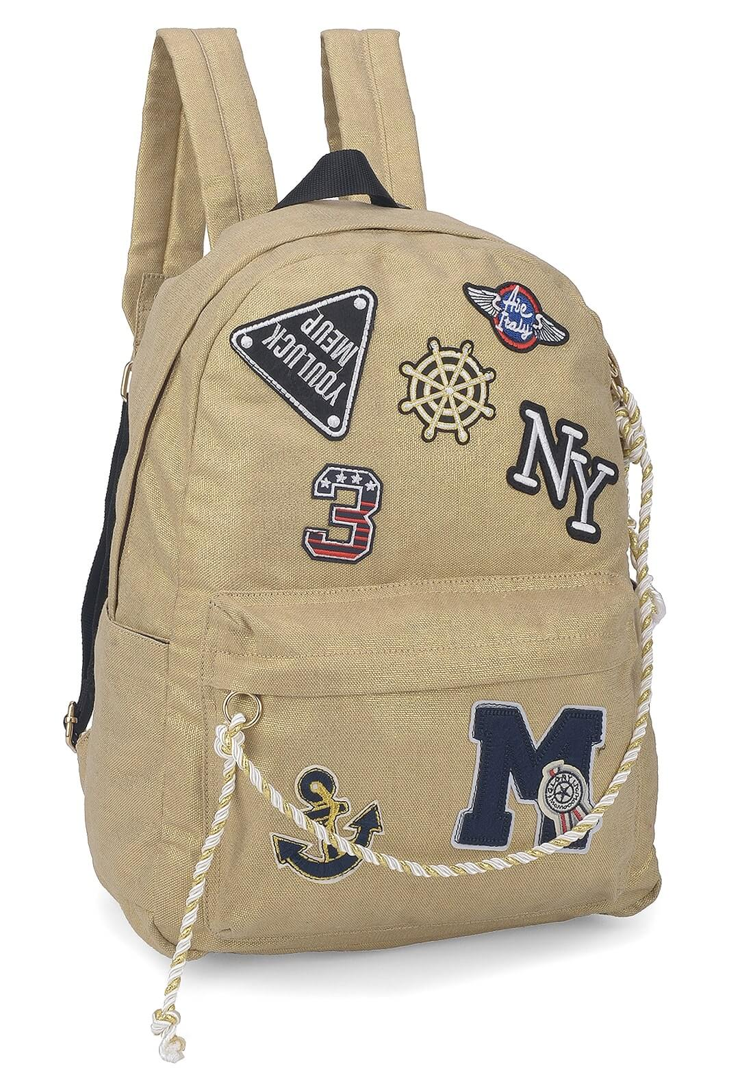 Mochila Escolar Up4you Patchwork Canvas Tumblr Ouro Patches