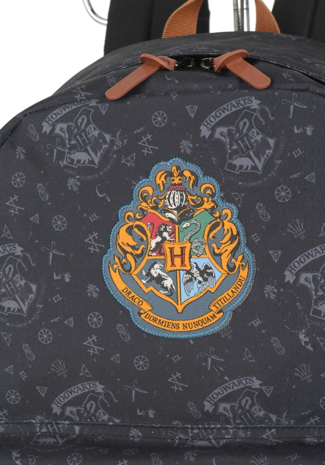 Mochila Harry Potter Hogwarts Relíquias Preta Original