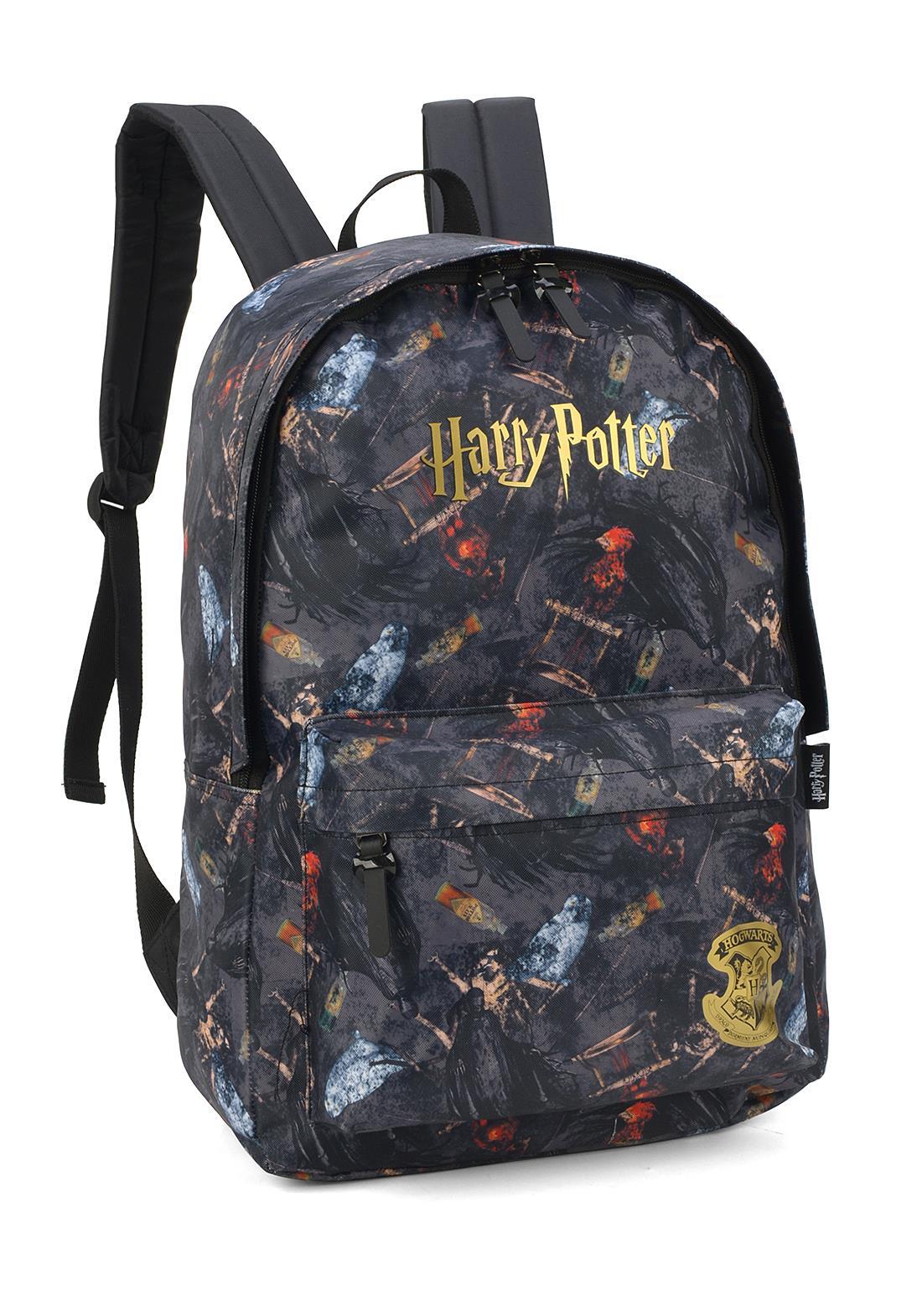 Mochila Harry Potter Preto Hogwarts Dourado Original