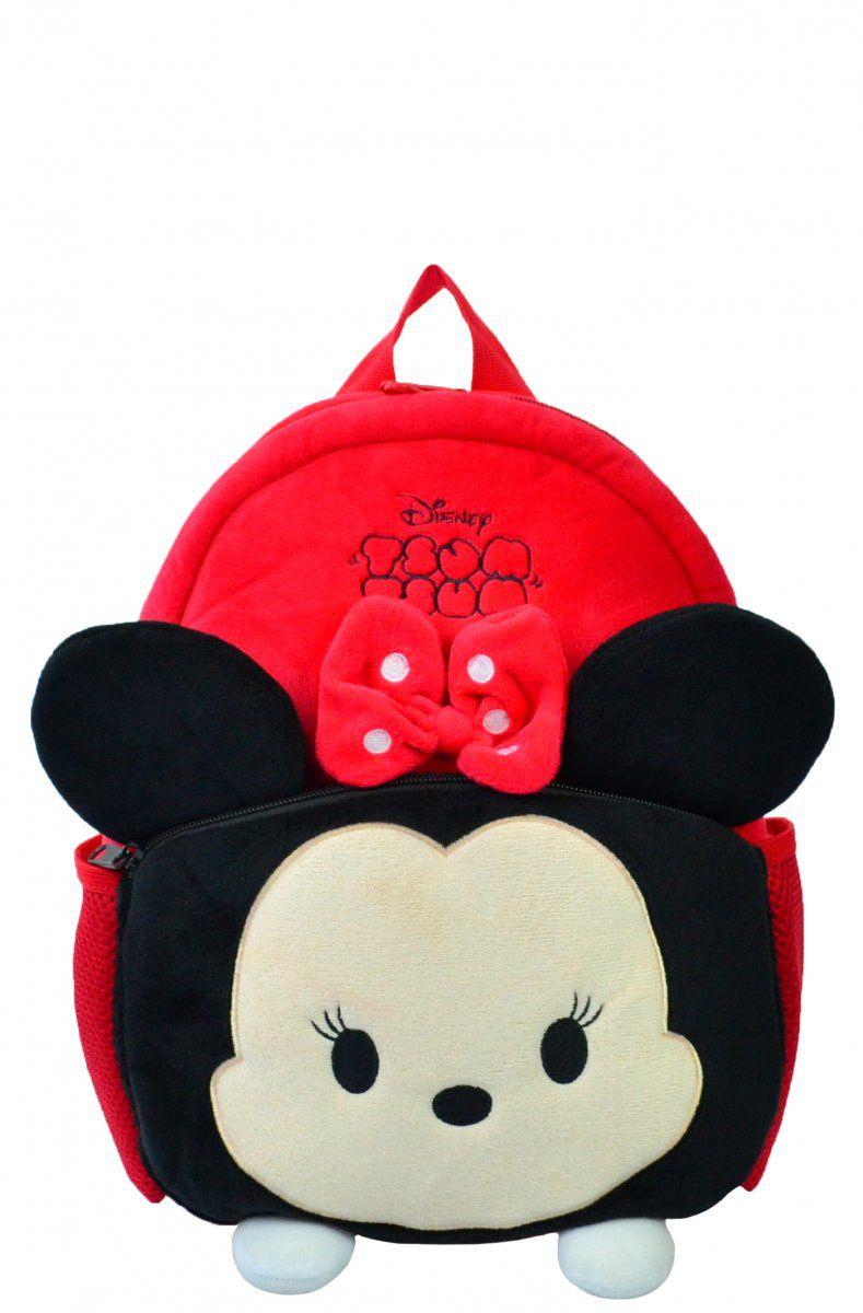Mochila Infantil Maternidade Disney Tsum Tsum Minnie Mouse Pelúcia 3D Vermelha