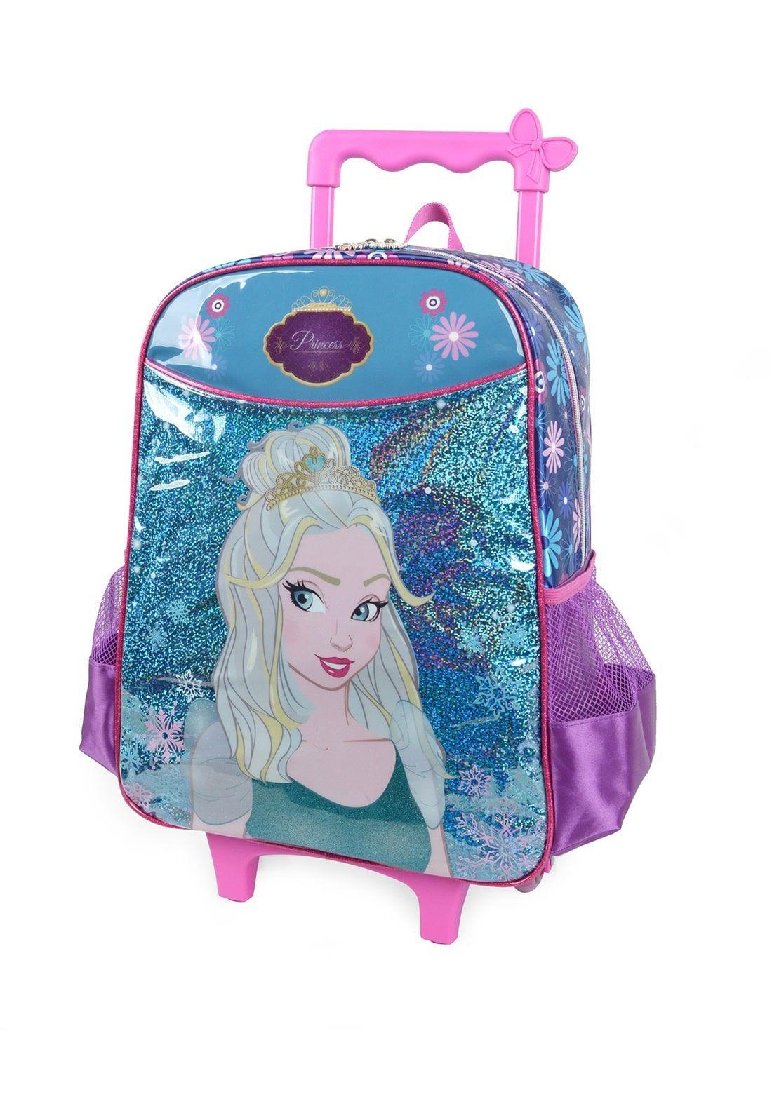 Mochila de Rodinhas Infantil Escolar Princess com Glitter Rosa e Azul