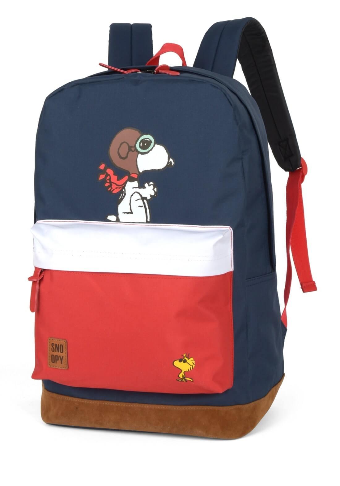 Mochila Juvenil Snoopy  Peanuts Aviador Azul Original