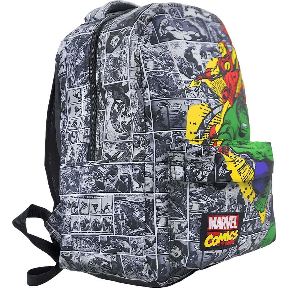 Mochila Marvel Quadrinhos Comics Geek Os Vingadores Cinza