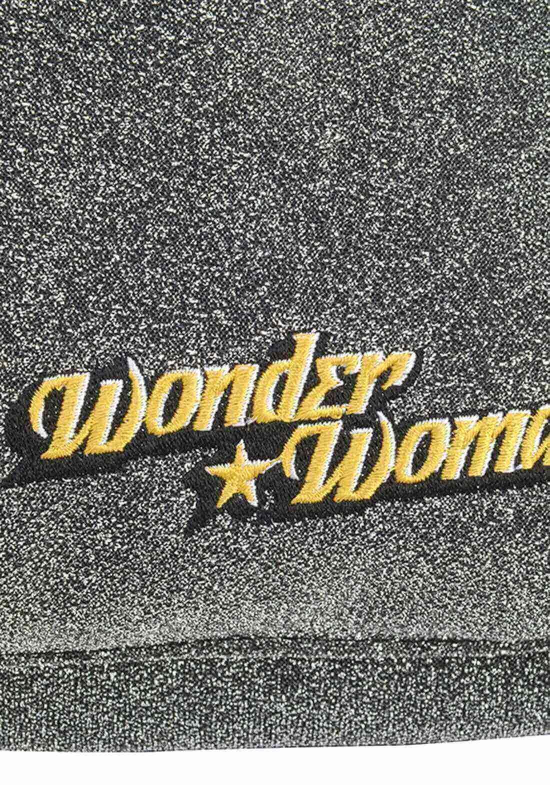 Mochila Mulher Maravilha Wonder Woman Cinza Brilho Original