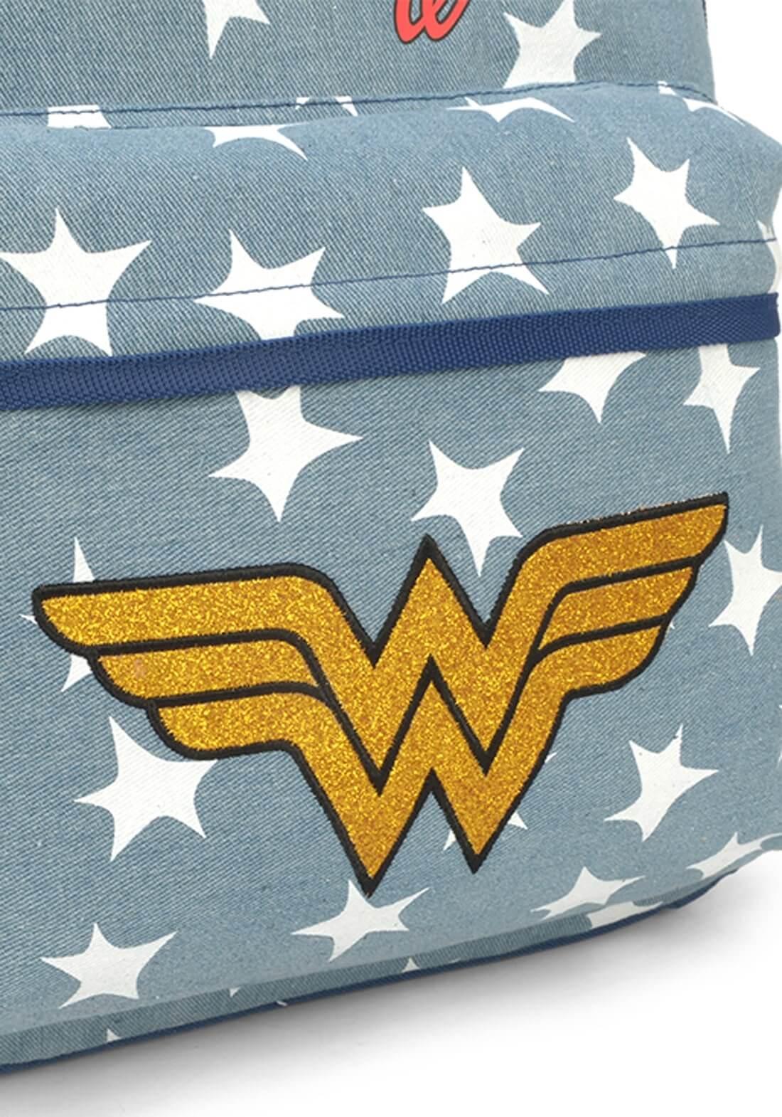 Mochila Mulher Maravilha Wonder Woman Notebook Jeans Bottons