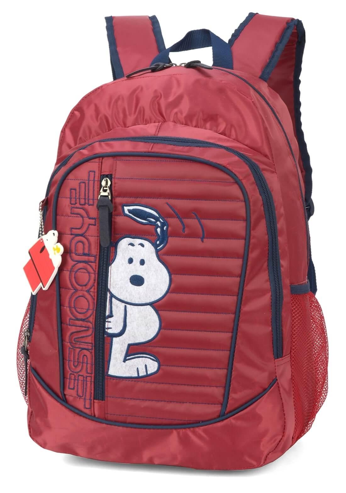 Mochila Peanuts Snoopy Notebook Vinho Original Garantia