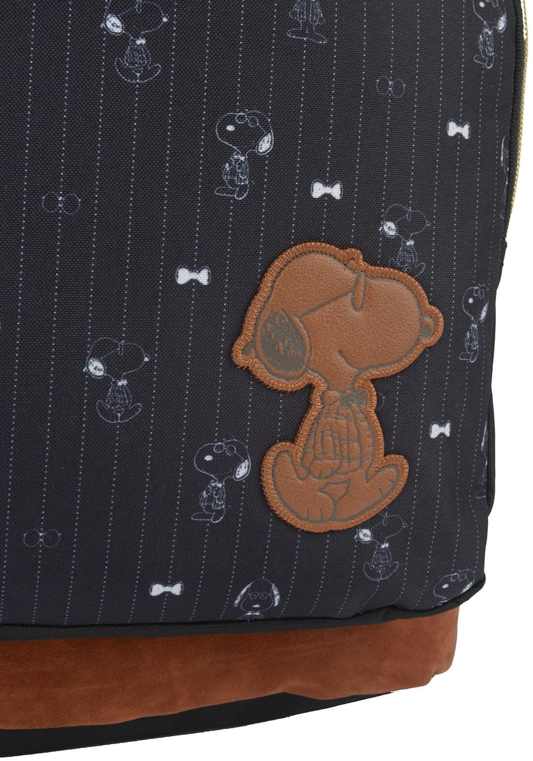 Mochila Peanuts Snoopy Original Chaveiro Notebook  Preta