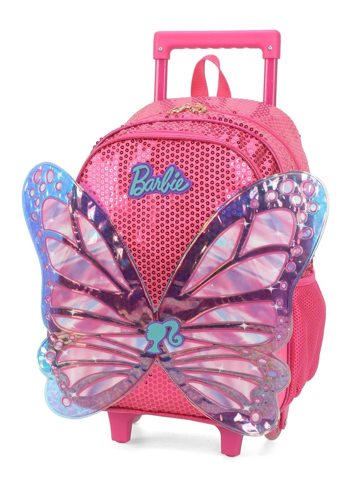 Mochila Rodinha Asas 3D Paetê Mochilete Barbie Rosa Original