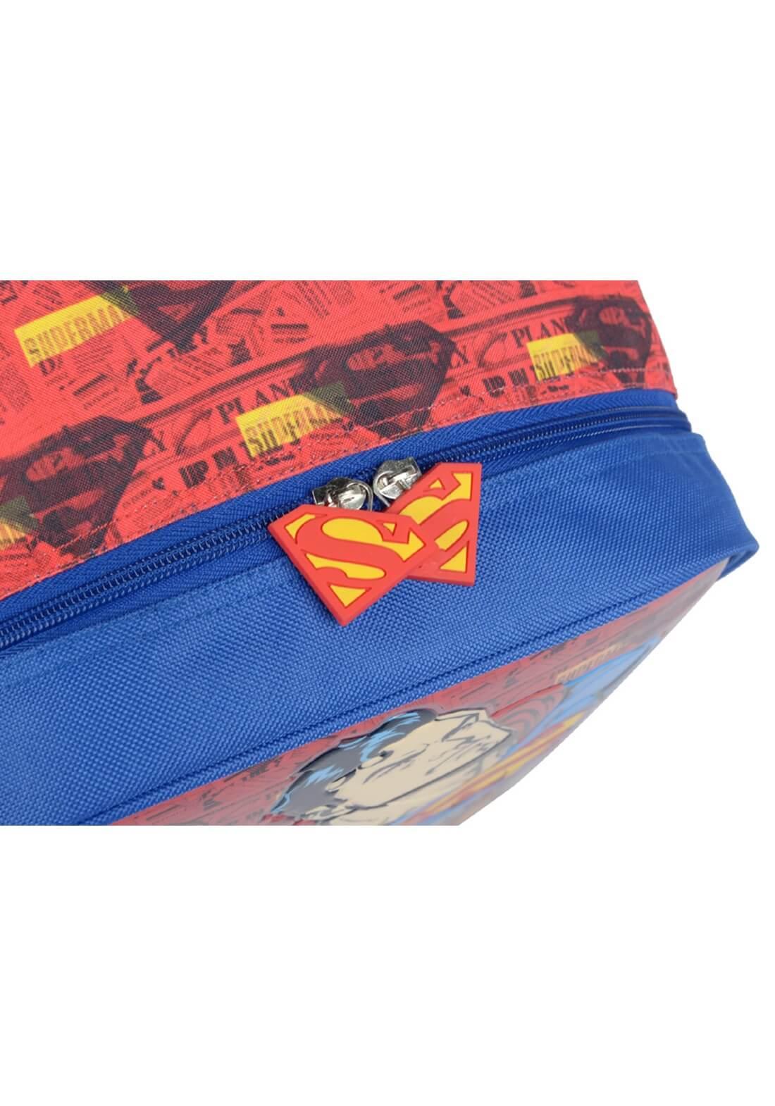 Mochila Rodinhas Superman Super Homem Azul com Vermelho