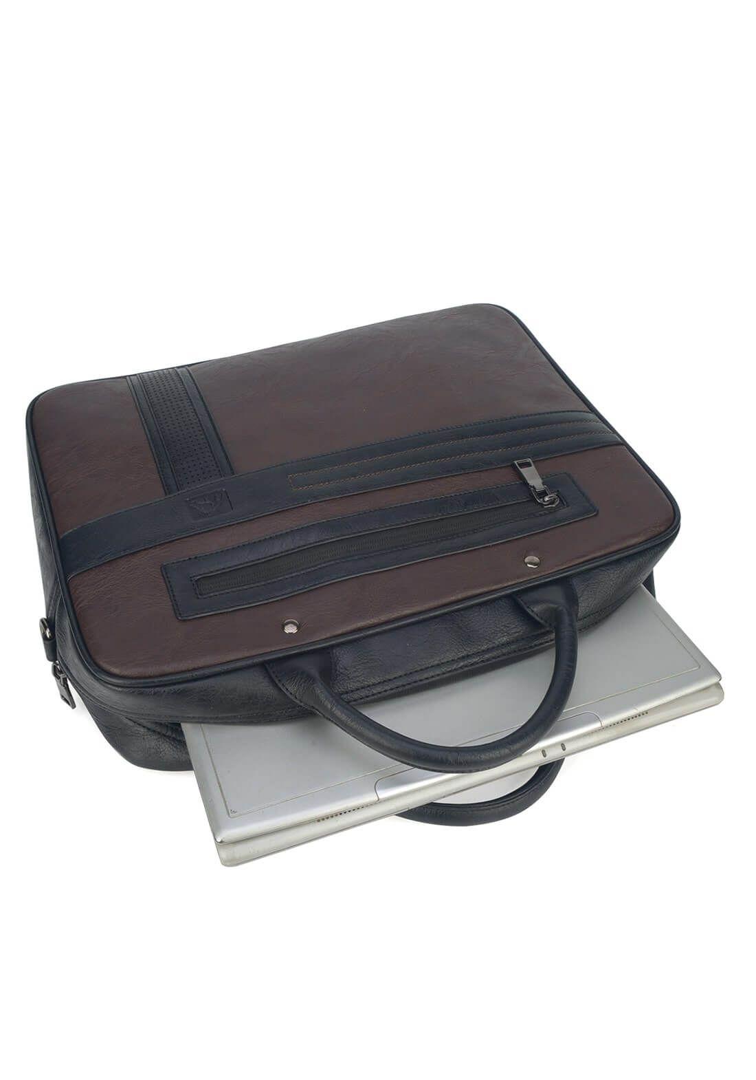 Pasta Executiva Polo King Notebook Couro Ecológico Marrom