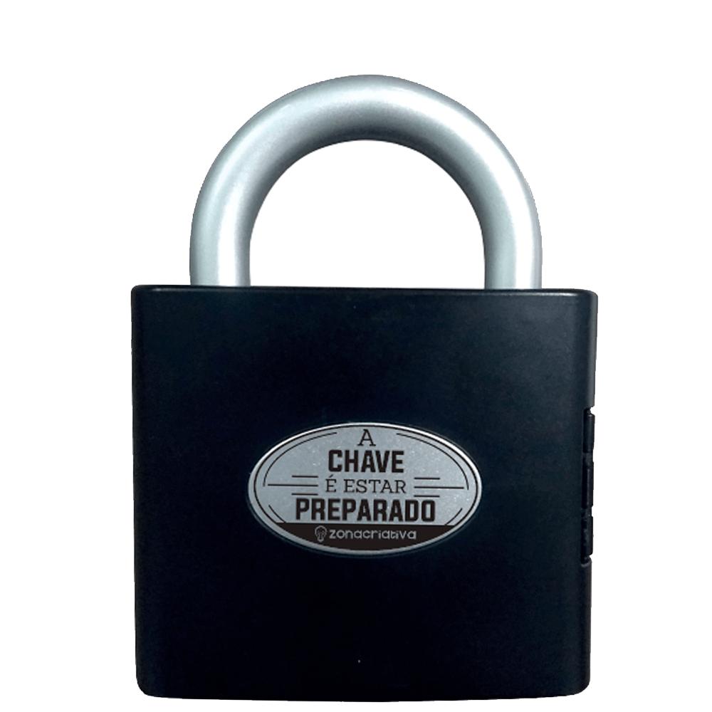 Porta Ferramenta Formato Cadeado Presente Preto Caixa
