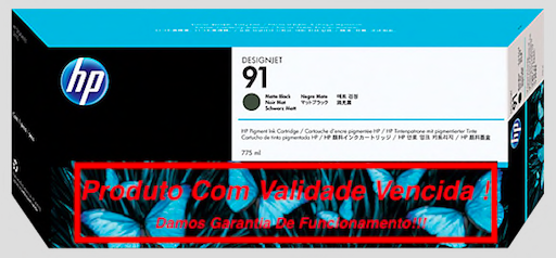 Cartucho Original Vencido HP 91 Matte Black (C9464A) 775ml