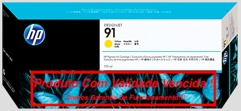 Cartucho Original Vencido HP 91 Yellow  (C9469A) 775ml