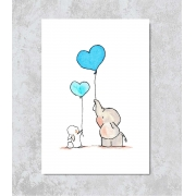 Decorativo - Elefantinho e seu Balão Azul