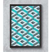 Decorativo - Geometria espacial em quadrados