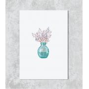 Decorativo - Vaso Azul Flores