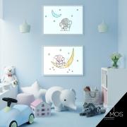 Kit com 2 decorativos - Boa noite elefantinho Infantil