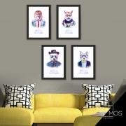 Kit com 4 decorativos - Animais Hipster Aquarela