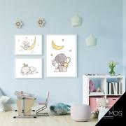 Kit com 3 decorativos - Boa noite Elefantinho Infantil