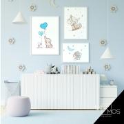 Kit com 3 decorativos - Elefantinho Azul Infantil
