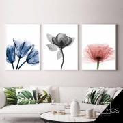 Kit com 3 decorativos - Flores Raio-x