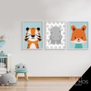 Kit com 3 decorativos - Pequenos Animais Infantil