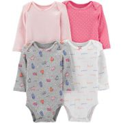 Kit 4 Body Manga Longa Heart - Carters