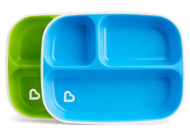Conjunto de Pratos com Divisórias Azul e Verde - Munchkin