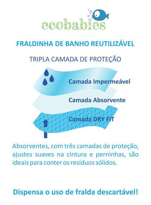 Fralda de Banho Piscina e Mar Reutilizável Coração Floral - Ecobabies