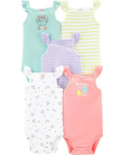 Kit 5 Body Regata Menina Colors - Carters