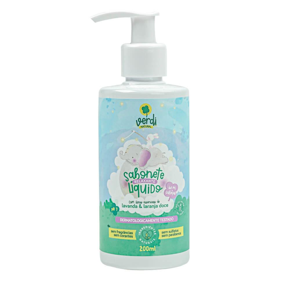 Sabonete Líquido e Shampoo Infantil Relaxante com Óleos Essenciais de Lavanda e Laranja Doce - Verdi
