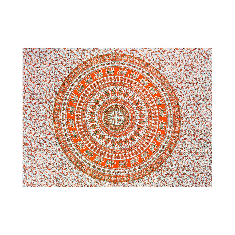 Bed Cover Casal King Mandala Elefantes Coloridos