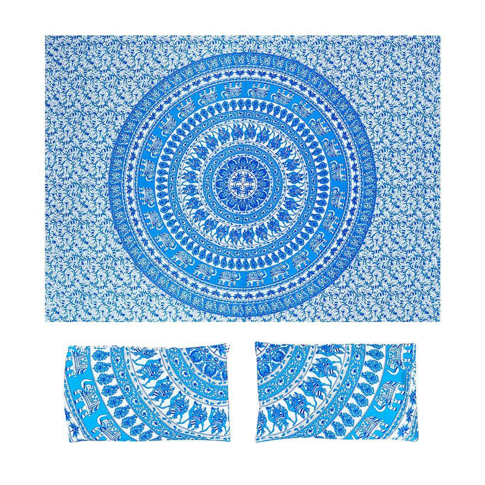 Bed Cover Com Capa de Almofada Mandala Com Elefantes