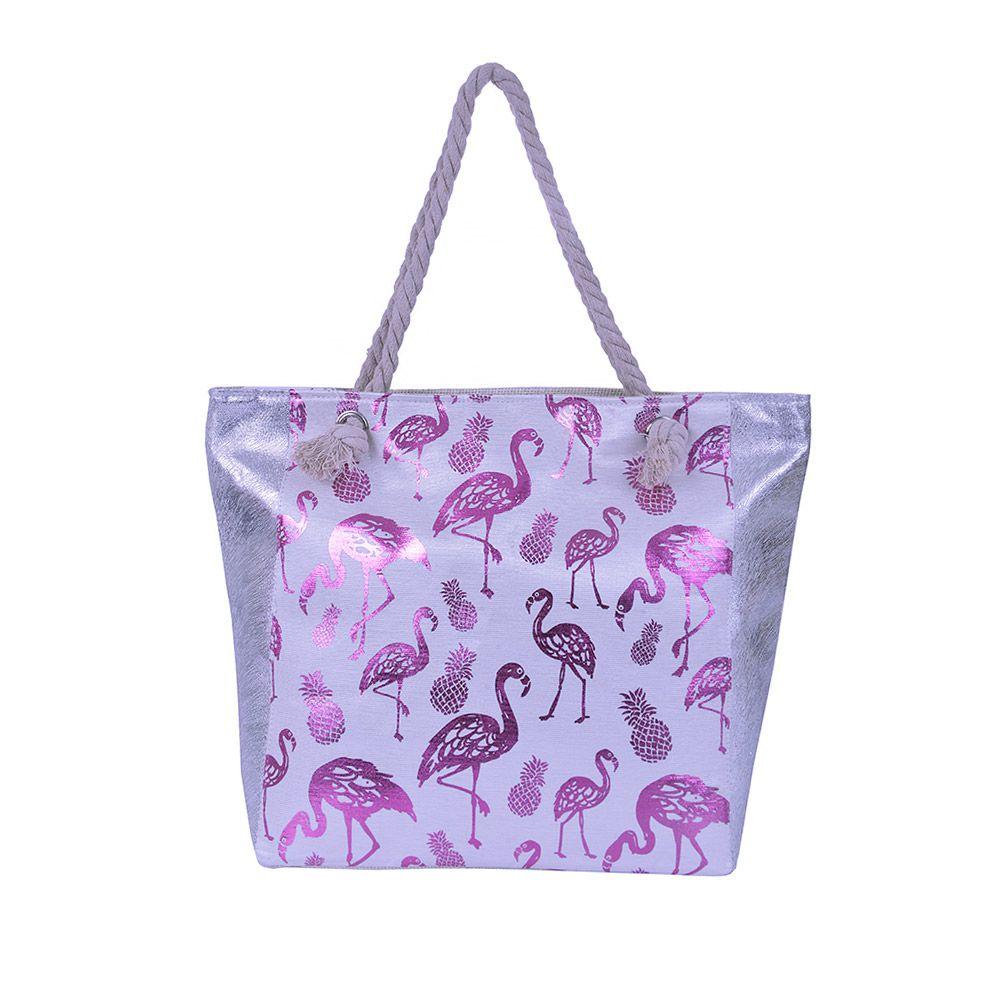 Bolsa de praia Flamingo Purpurina