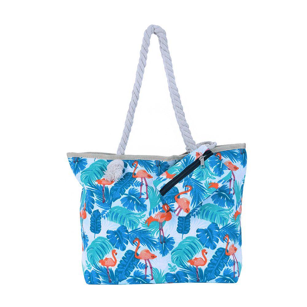 Bolsa de praia Flamingo Tropical Azul
