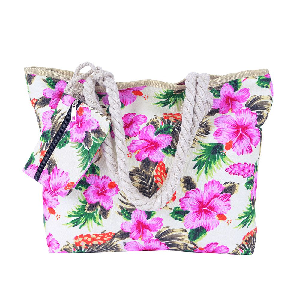 Bolsa de praia Flor Rosa