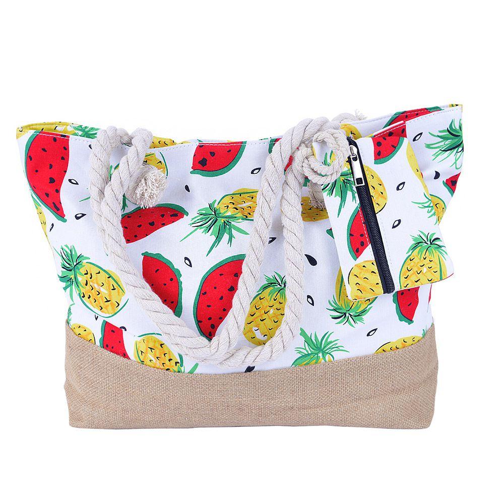 Bolsa de praia Melancia Abacaxi Com Cordão