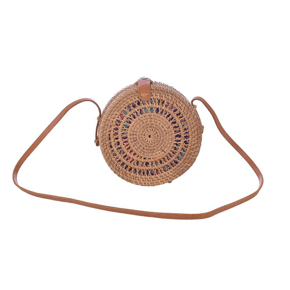 Bolsa Redonda De Rattan Detalhe Espiral