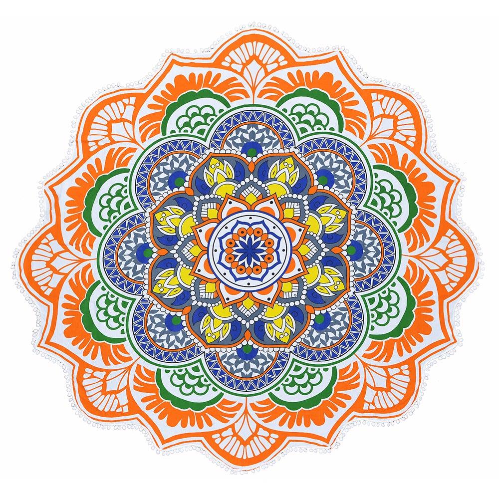 Canga Redonda Mandala Colors com Pompom Branco