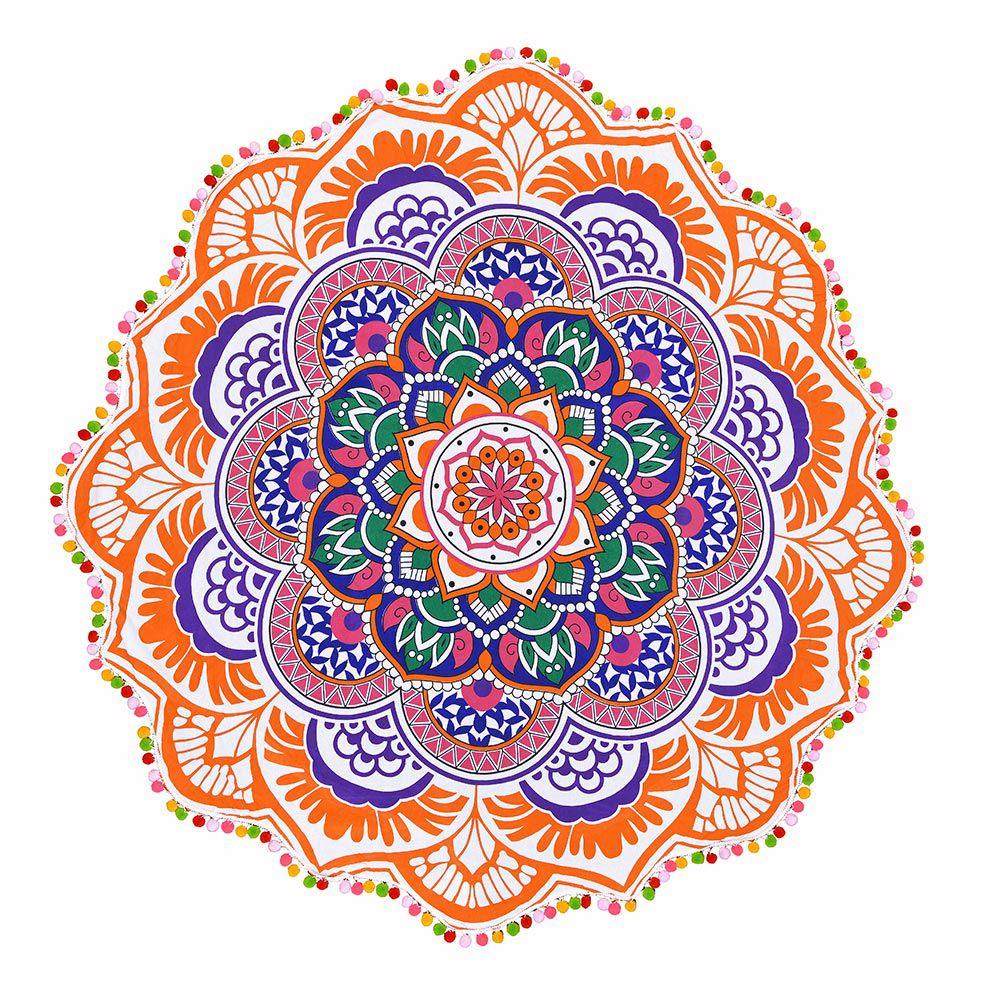 Canga Redonda Mandala Colors com Pompom Colorido