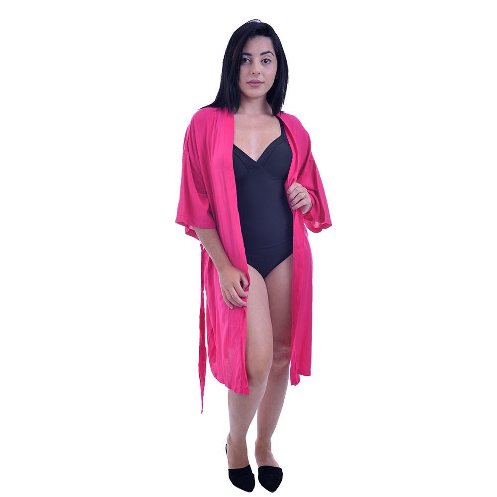 Saída De Praia Kimono Curto Sem Pom Pom