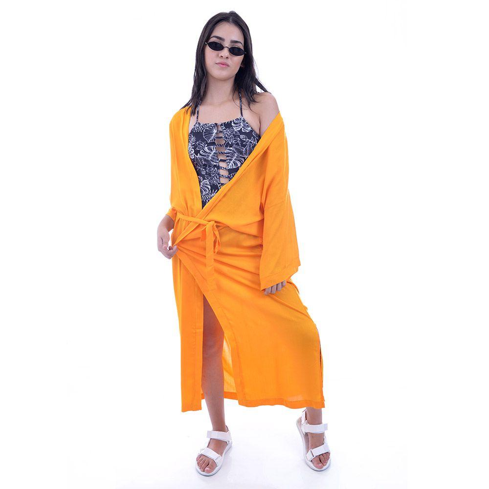 Saída De Praia Kimono Longo com Cordão Ajustável