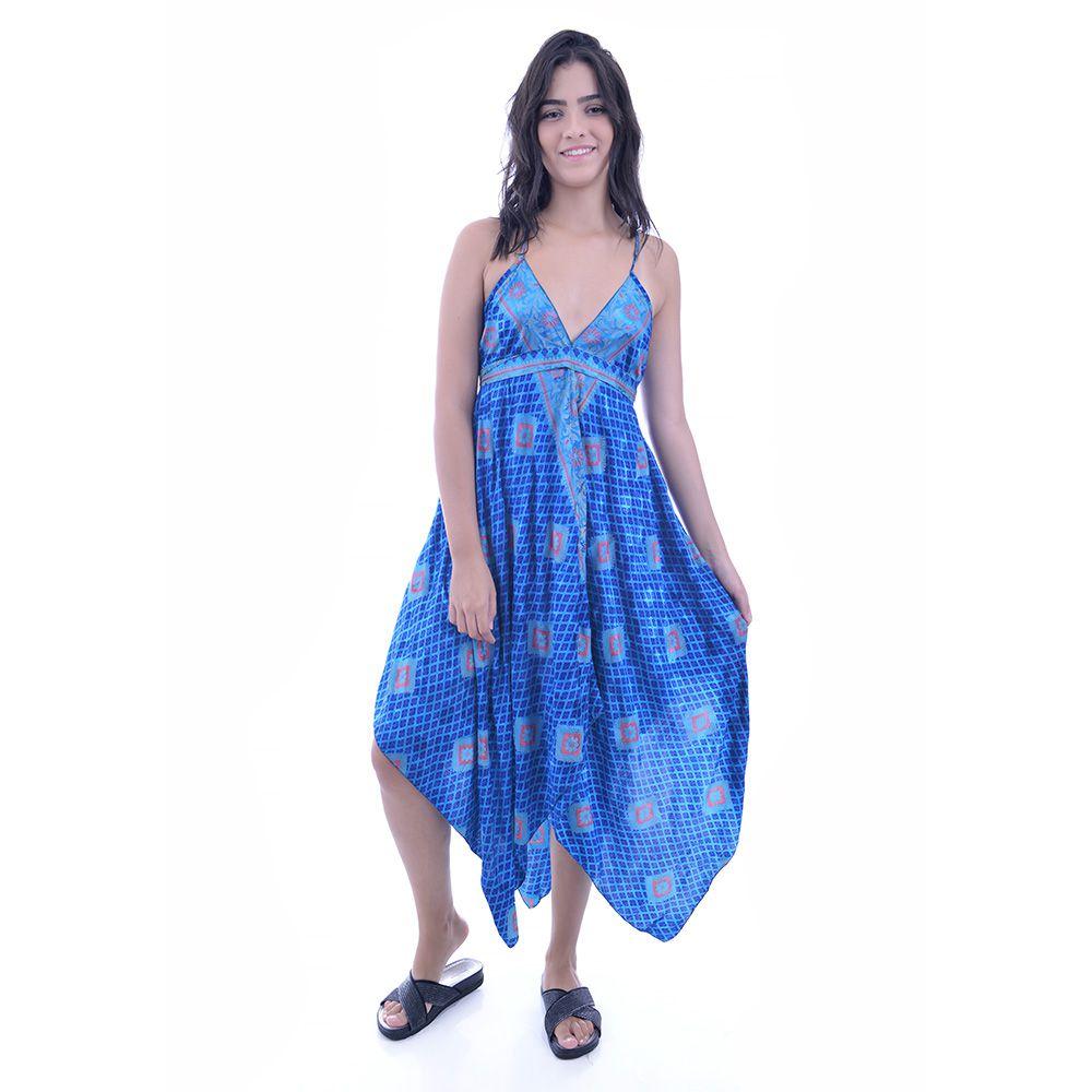 Vestido Indiano Azul com Rosa