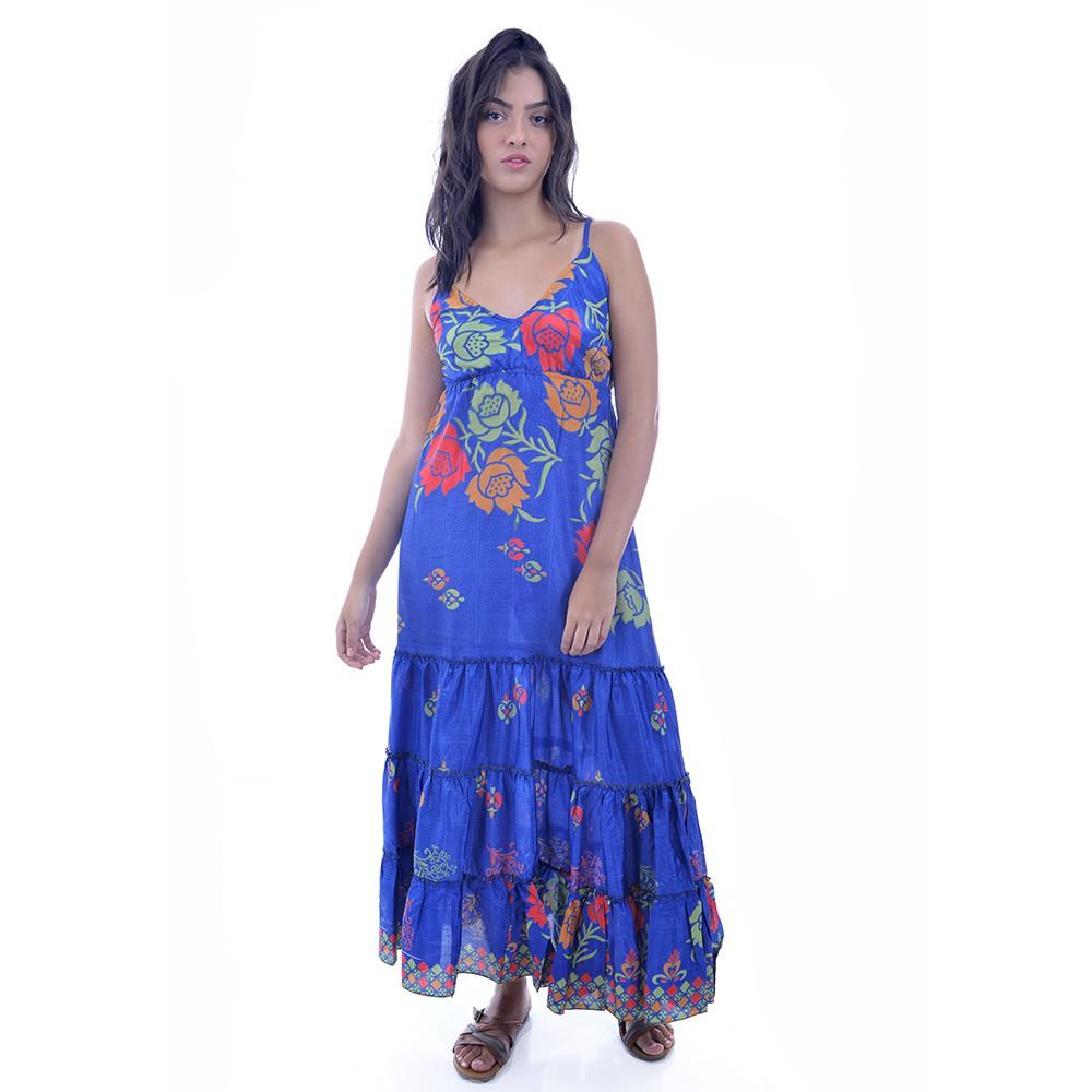Vestido Indiano Azul com Rosas