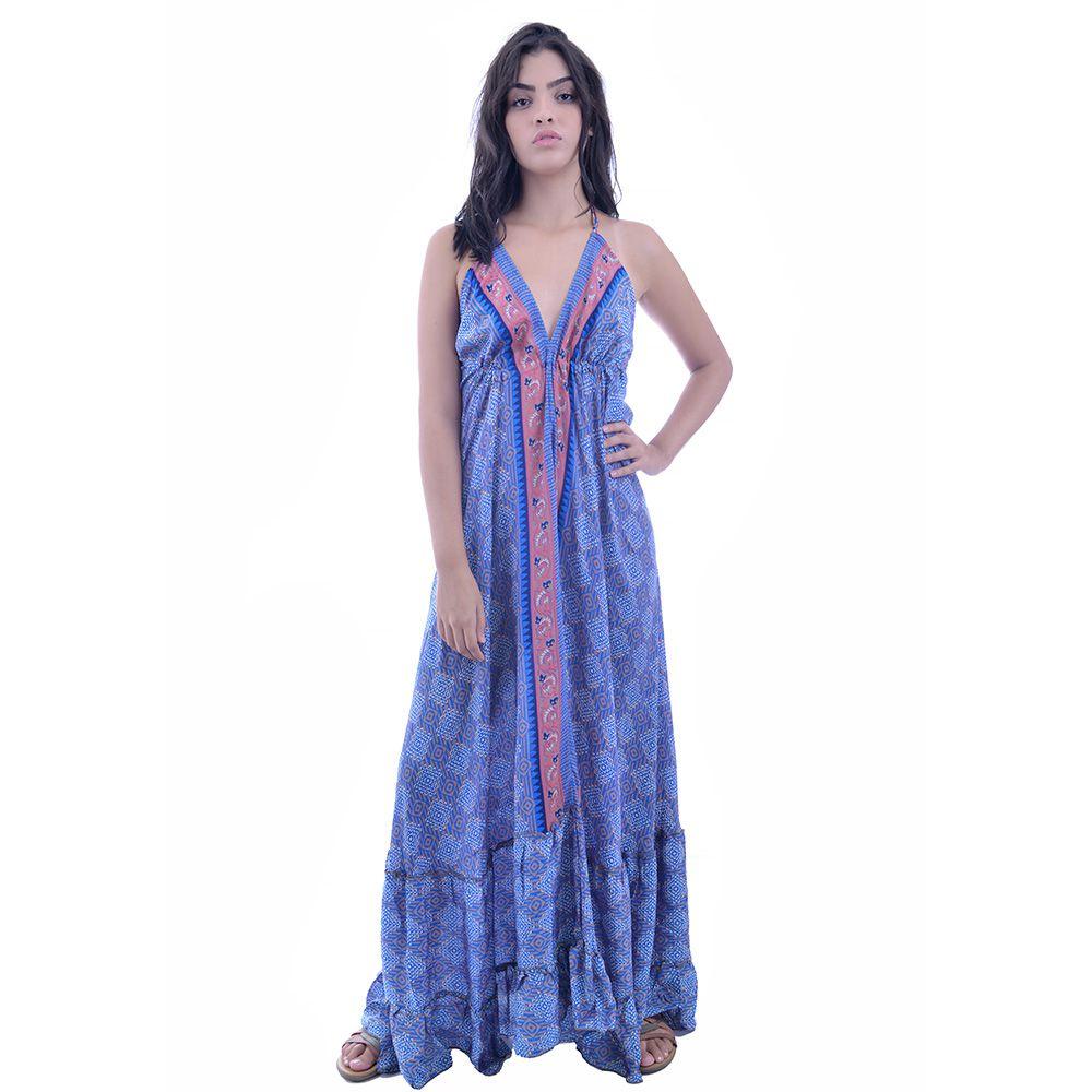 Vestido Indiano Azul Gold