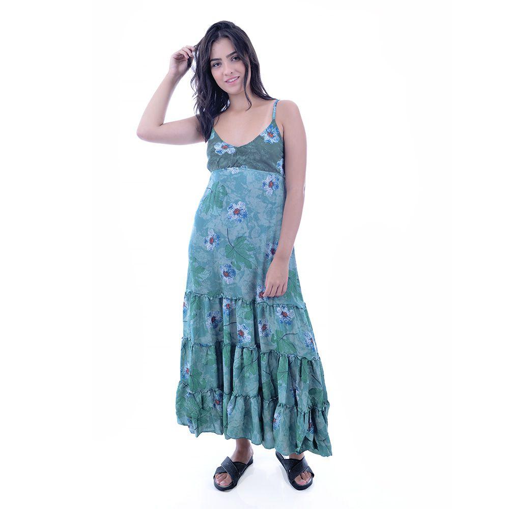 Vestido Indiano Verde Água