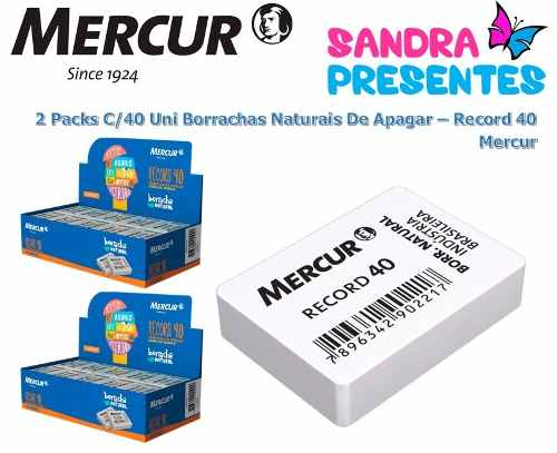 0f069c88a8090 Kit C 80 Borracha Escolar Record 40 - Branca - Mercur - Sandra ...