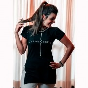 Camiseta Feminina Jesus Cristo Preta com Pedras - Soul da Paz