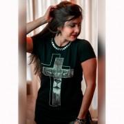 Camiseta Feminina Leão na Cruz com Pedras - Soul da Paz