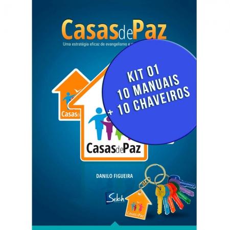 Kit 1 - 10 Manuais Casas de Paz e 10 Chaveiros - Danilo Figueira - Selah Produções